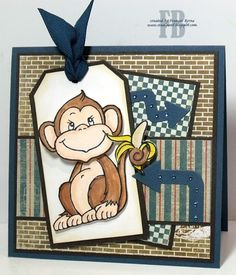 Monkey created by Frances Byrne using image from Stampendous