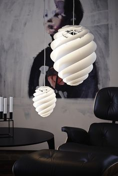 Swirl pendants along with the classic Eames Lounger Gorgeous SWIRL Lamp Series Gets A Grand New Addition With A Twist