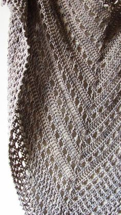 Best 12 Northern Sea is a triangular shape shawl crocheted from the top down. It starts from the eyelet rows and ends with a textured knitted-look border made of crossed stitches. Size is easily adjustable by skippingadding more repeats both in eyelet and Shawl Crochet, Col Crochet, Crochet Shawls And Wraps, Crochet Scarves, Crochet Clothes, Crochet Stitches, Ravelry Crochet, Crochet Capas, Knitting Patterns