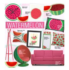 """Watermelon"" by kusja ❤ liked on Polyvore featuring interior, interiors, interior design, home, home decor, interior decorating, Southern Enterprises, Crate and Barrel, Joybird Furniture and watermelon"