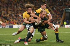 Schalk Burger of the Springboks is tackled by Wallabies' Michael Hooper and Rob Simmons Michael Hooper, Rugby Championship, Rugby League, South Africa, Collage, Australia, Football, Sports, Men