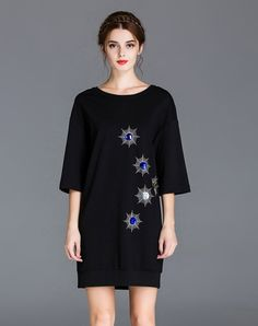#AdoreWe #VIPme Sweatshirts & Hoodies - ZIYI Black Round Neck Embroidery Cocon Sweatshirt - AdoreWe.com