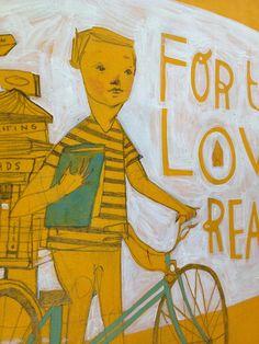 Love of Reading / Me gusta leer (ilustración de Rebecca Green) Via: rebeccagreenillustration