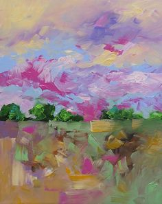 Original Landscape Painting Abstract Painting by lindamonfort