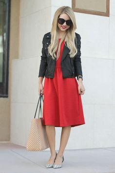 Little Red Dress and black leather jacket