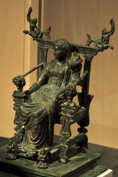 Roman bronze statue of a seated Fortuna, Pompeii ~ Goddess of chance, luck and fate