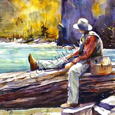 FLY FISHING Watercolor Print by DeanCrouserArt on Etsy