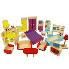 Contient 27 pièces de mobilier en bois aux coloris frais, pour maison de poupées…