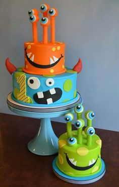 decoracao bolos festa monstrinhos 13 Monster Party, Monster Birthday Cakes, Monster 1st Birthdays, Monster Birthday Parties, Cool Birthday Cakes, Monster Cakes, Pretty Cakes, Cute Cakes, Beautiful Cakes