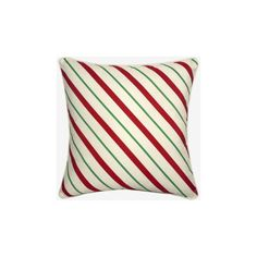 Grandin Road Candy Cane Stripe & Dots Pillow ($44) ❤ liked on Polyvore featuring home, home decor, throw pillows, polyester throw pillows, inspirational home decor, holiday throw pillows, inspirational throw pillows and polka dot home decor