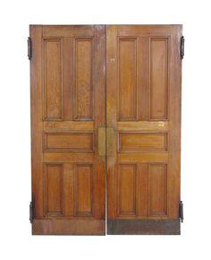 Antique 5 Pane Quarter Sawn Oak Swinging Double Doors 91.75 x 65 Arched Doors, Oak Doors, Panel Doors, Entry Doors For Sale, Door Gate, Antique Interior, Antique Doors, Golden Oak, Pocket Doors