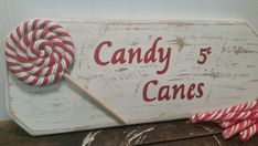 Christmas sign Handpainted candy cane sign by CarriageOnCherry