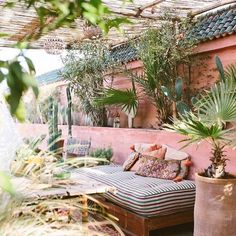Western style patio with bohemian decor