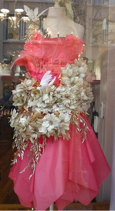 Commission work by florists to style dresses