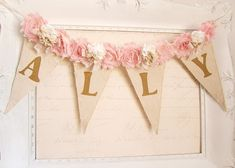 Girl Name Banner, Pink and Gold Birthday, Shabby Chic Nursery Banner, Girl 1st Birthday Decor, Shabby Chic Wedding, Bridal Shower Decor by kathyjacobson on Etsy https://www.etsy.com/listing/226263377/girl-name-banner-pink-and-gold-birthday