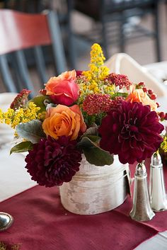 Table centerpiece for a wedding at Ten Mile Station, on Peak 9 at the Breckenridge Ski Resort.