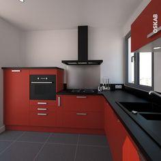 Cuisine Rustique Moderne Rouge Brillante Et Bois En L Cuisine - Cuisiniere induction four pyrolyse largeur 50 cm pour idees de deco de cuisine