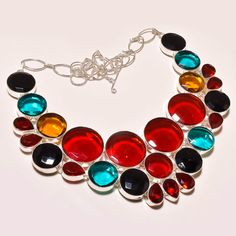 AMAZING MOZAMBIQUE GARNET WITH MULTI CUT STONE .925 SILVER NECKLACE #Handmade #Choker