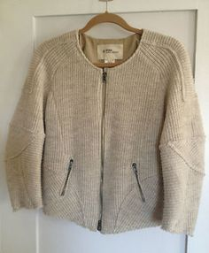 Etoile Isabel Marant Oatmeal Wool Sweater Zipper Cardigan with Elbow Patches 1 | eBay