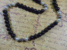 "Vintage Black Bead 22"" Necklace - N-407 - Long Black Necklace - Black Bead Necklace"
