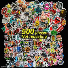 500 pcs Not repeating waterproof stickers for Home decor Wall fridge Travel Suitcase Bike Sliding Plate Car Styling sticker
