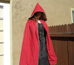 Red Cloak with Gold Lining by fairesisters on Etsy, $95.00