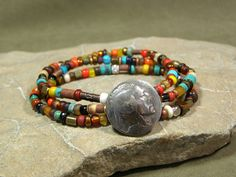 Beaded Bracelet  Stretch Bracelet  Native by StoneWearDesigns