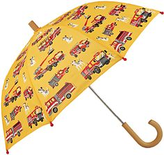Buy Hatley Children's Fire Trucks Print Umbrella, Yellow from our Boys' Umbrellas range at John Lewis & Partners. Kids Umbrellas, Boys Accessories, Wooden Handles, Fire Trucks, Yellow, Children, Fun, Crafts, Young Children