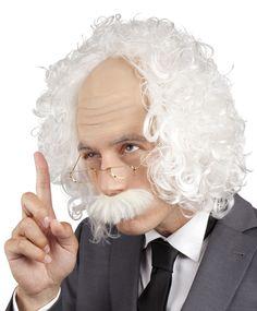 Einstein-setti. Einsteinin tyyliin kuuluvat vaalea, kihara ja hieman hasottava tukka ja viikset.