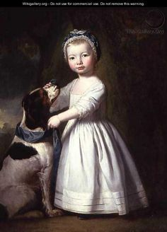 Little Boy with a Dog, c.1757 - George Romney/ possibly this is a little girl. Caps are usually on girls there is very little else to go on. It appears this is in a private collection since the source is simply WikiGallery.