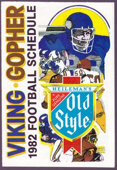 1982 MINNESOTA VIKINGS GOPHERS OLD STYLE BEER POCKET SCHEDULE NMMT FREE SHIPPING #SCHEDULE