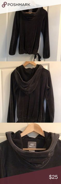Nike velour cowl neck hoodie Super soft and cozy Nike velour cowl neck hoodie. Excellent gently used condition. Dark charcoal gray. Nike Tops Sweatshirts & Hoodies