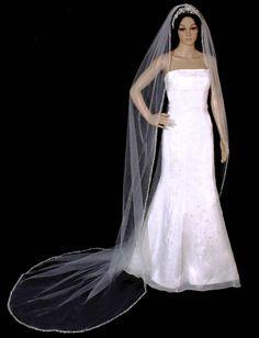 "Fabulous Royal Cathedral Length 120"" Long Beaded Pearl and Rhinestone Wedding Veil - Affordable Elegance Bridal -"