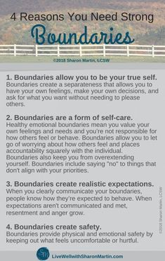 What Are Boundaries and Why Do I Need Them? - Live Well with Sharon Martin What Are Boundaries and Why Do I Need Them? - Live Well with Sharon Martin Sharon Martin, Boundaries Quotes, Encouragement, Setting Boundaries, This Is Your Life, Mental And Emotional Health, Emotional Healing, John Maxwell, Self Care Activities