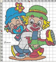 clown Cross Stitch Boards, Cross Stitch Baby, Plastic Canvas Crafts, Plastic Canvas Patterns, Perler Patterns, Crochet Patterns, Cross Stitching, Cross Stitch Embroidery, Disney Cross Stitch Patterns
