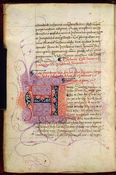 Burney 252 f. 4v Puzzle initial  Description: Puzzle initial 'A'(nneus), at the beginning of the Spanish translation of Pseudo-Seneca's Epistolae to Paul.   Origin: Spain