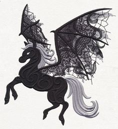 This ghostly and dimensional winged stallion will send shivers down your spine! Sew onto apparel, decor, and more.