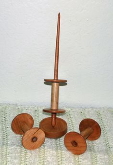 Cherrywood Bobbin Support Spindle with three bobbins and Support bowl