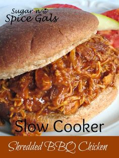 The BEST Shredded BBQ Chicken Sandwiches! An easy crockpot recipe everyone will love. - New ideas Slow Cooker Huhn, Slow Cooker Bbq, Slow Cooker Recipes, Crockpot Recipes, Chicken Recipes, Cooking Recipes, Slow Cooker Barbeque Chicken, Chicken Ideas, Smoker Recipes