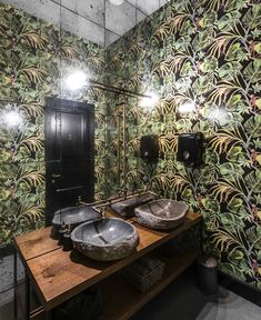 restaurant decor Manami Restaurant Decor Inspired by Asias Dense Jungle - InteriorZine Restroom Design, Bathroom Interior Design, Modern Interior Design, Toilet Restaurant, Restaurant Bathroom, Wc Design, Cafe Design, Restaurant Concept, Restaurant Design