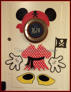 This cute minnie magnet set includes 2 ears,2 hands,2 feet,1 pirate hat, 1 dress with belt,and 1 pirate sign.They are perfect for decorating your cruise state room door or for giving as a fish extender gift!They are made to fit around the porthole on the Disney cruise ship stateroom doors. They are made of heavy card stock and laminated for traveling.My magnets are the best quality and stay on cruise doors without falling off.You can put on your fridge at home as well!This is my one of a…