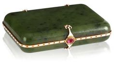 A Fabergé nephrite jade cigarette case with jewelled and enamelled gold mounts,Moscow, 1899-1908