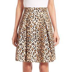 Carolina Herrera Cheetah-Print Stretch Cotton Skirt ($280) ❤ liked on Polyvore featuring skirts, long pleated skirt, pleated skirt, cheetah skirt, dark brown skirt and cheetah print skirt