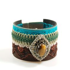 Wide leather bracelet brown turquoise, western style with tiger eye and Swarovski - handmade cuff gypsy style - unique jewelry OOAK Catena