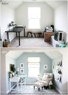 Seafoam blue and white office