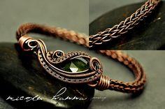 Wire Wrapped Vesuvianite, Copper Viking Knit Bracelet from Nicole Hanna Jewelry on Storenvy Metal Jewelry, Beaded Jewelry, Handmade Jewelry, Jewellery, Handmade Bracelets, Wire Wrapped Bracelet, Wire Bracelets, Bangles, Wire Earrings