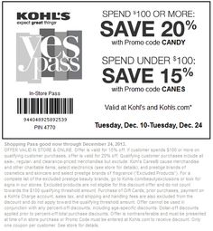 Pinned December 10th: 15% off and more at #Kohls, or online via promo code CANES #coupons via The Coupons App