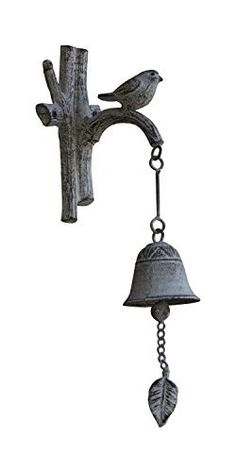 Cast Iron Country Doorbell | Old Fashioned Decorative Bird On a Branch Door Bell Chime| Wall Mounted Hanging| Rustic Finish | 5.5x3.9x17"