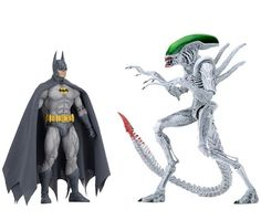 """Have you seen the first release of NECA's new """"Versus"""" action figure line? It's a line of 2-packs inspired by classic comic book mashups. The first one is based on the 1997 Batman/Aliens miniseries co-published by DC Comics and Dark Horse. Not only do we want this set we also want the comics. :) #batman #dccomics #NECA #darkhorse #batmanvsaliens #alien #aliens #joker #thejoker #mashup #comicmash #thebatman #justiceleague #aliencovenant"""