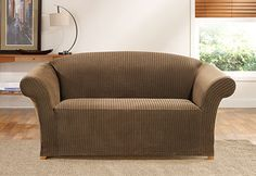 Sure Fit Slipcovers Simple Stretch Ribbon Stripe One Piece Slipcovers - Loveseat